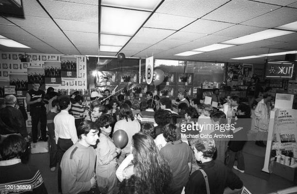 Members of the pop band Spandau Ballet sign autographs at Tower Records Hollywood in 1983 in Los Angeles California