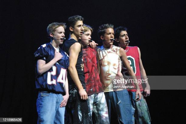 Members of the pop boy band Dream Street are shown performing on stage during a liveconcert appearance on February 2 2002