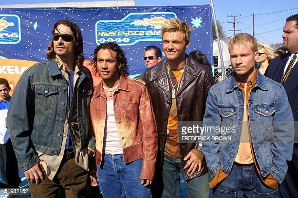 Members of the pop group Backstreet Boys arrive at the 14th Annual Kids' Choice Awards to be telecast by the USbased children's program Nickelodeon...
