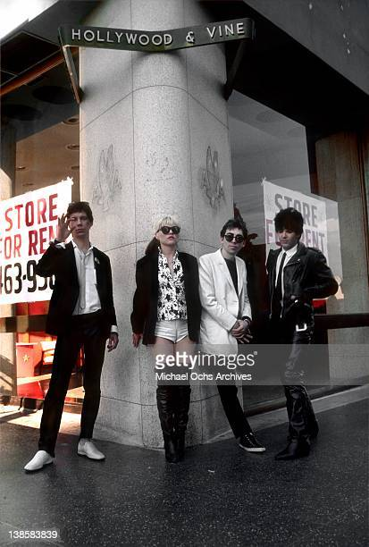 Members of the pop group Blondie pose at the intersection of Hollywood and Vine in 1979 in Los Angeles California