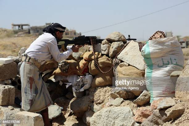 Members of the Popular Resistance, loyal to President of Yemen Abd Rabbuh Mansur Hadi wait for the arrival of United Nations Under-Secretary-General...