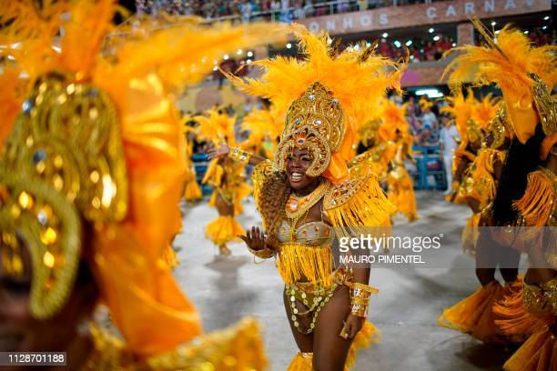 Members of the Portela samba school perform during the second night of Rio's Carnival parade at the Sambadrome in Rio de Janeiro Brazil early on...