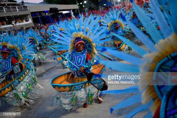 Members of the Portela samba school performs during the first night of Rio's Carnival parade at the Sambadrome Marques de Sapucai in Rio de Janeiro...