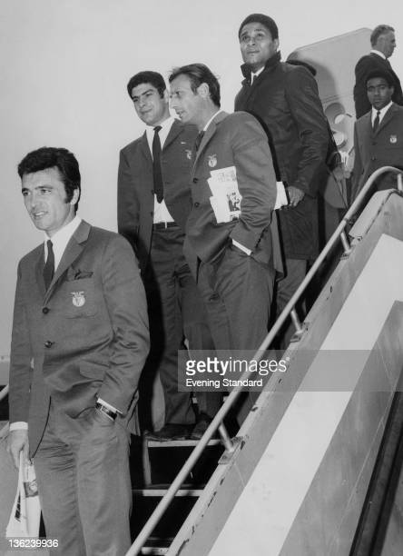 Members of the Portuguese football team Benfica arriving in Britain, 25th May 1962. At fourth from left is their Mozambican-born forward Eusebio.