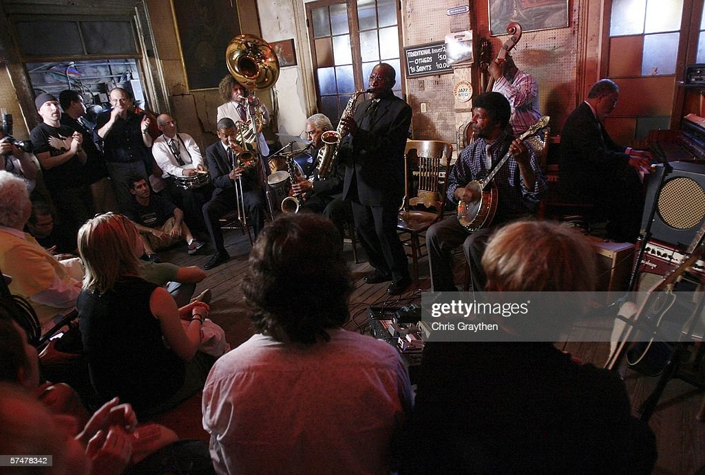 Members of the Preservation Hall Jazz Band perform during the grand re-opening of Preservation Hall on April 27, 2006 in New Orleans, Louisiana. Preservation Hall has been closed since Hurricane Katrina hit the area eight months ago.