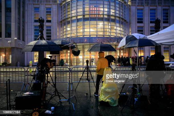Members of the press assemble outside the United States District Court for the Eastern District of New York on the first day of the trial for Joaquin...