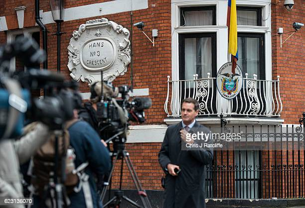 Members of the press gather outside the Embassy of Ecuador as Swedish prosecutors question Wikileaks founder Julian Assange on November 14 2016 in...