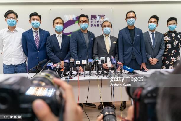 Members of the pro-democracy Civic Party, Jeremy Tam, Kwok Ka-ki , Alvin Yeung, Alan Leong, Dennis Kwok, Cheng Tat-hung, and Tanya Chan pose for a...