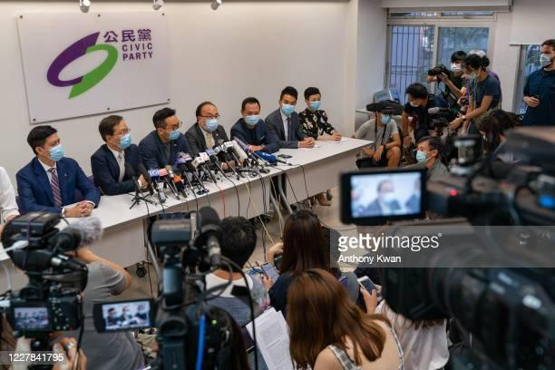 Members of the pro-democracy Civic Party, Jeremy Tam, Kwok Ka-ki , Alvin Yeung, Alan Leong, Dennis Kwok, Cheng Tat-hung, and Tanya Chan attend a...