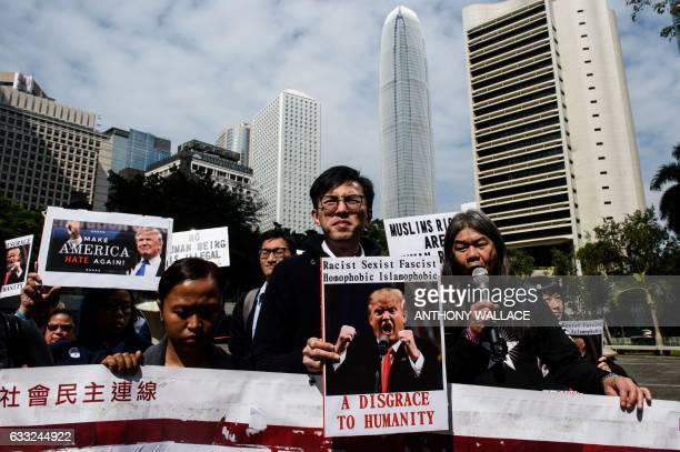 TOPSHOT CORRECTION Members of the prodemocracy party League of Social Democrats Avery Ng Leung Kwokhung also known as Long Hair and other activists...