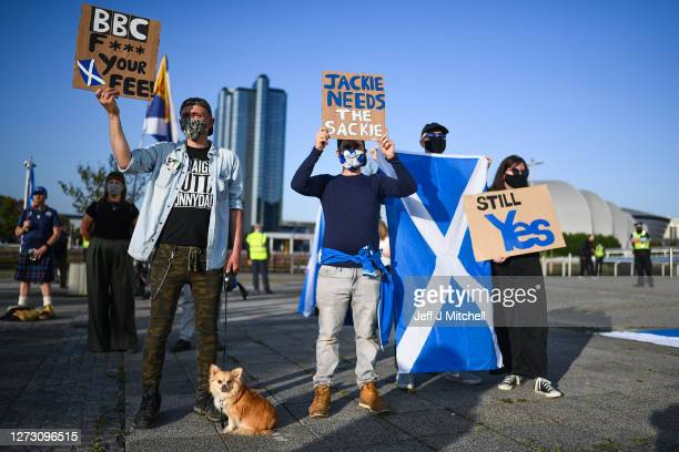 Members of the proindy group All Under One Banner hold a rally for independence outside BBC Scotland on September 17 2020 in Glasgow Scotland The...