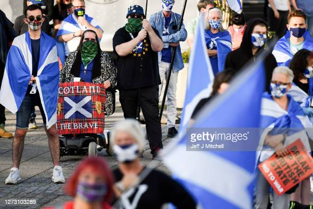 Members of the pro-indy group All Under One Banner hold a rally for independence outside BBC Scotland on September 17, 2020 in Glasgow, Scotland. The...
