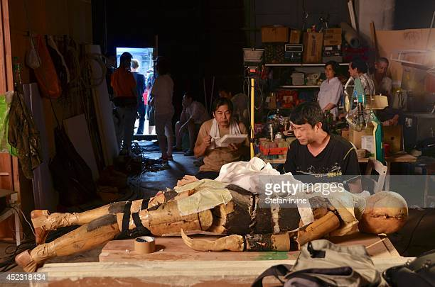 Members of the props department working on dummies on the Hong Kong film set of Rigor Mortis a horror film about vampires The film is Juno Mak's...