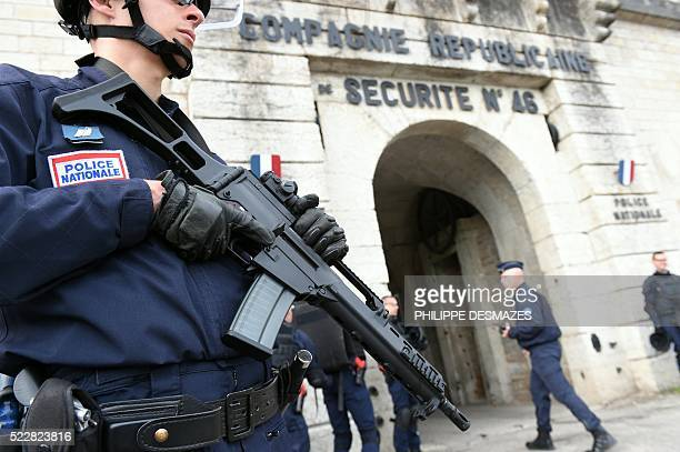 Members of the protection and intervention unit of the French riot police take part in a training session on April 21 2016 in Sainte FoyLesLyon near...