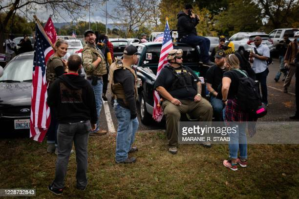 Members of the Proud Boys and other similar groups gathered for a rally at Delta Park in Portland, Oregon on September 26, 2020. - Far-right group...