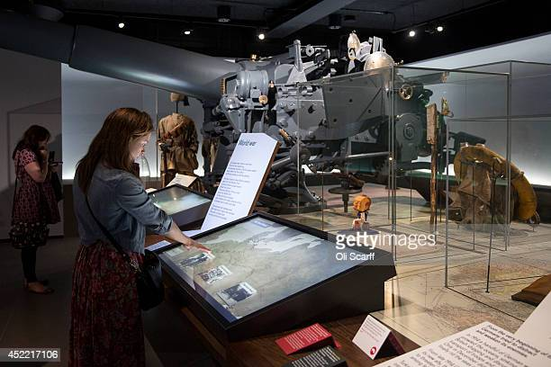 Members of the public admire the First World War exhibition in the Imperial War Museum on July 16 2014 in London England The new World War One...