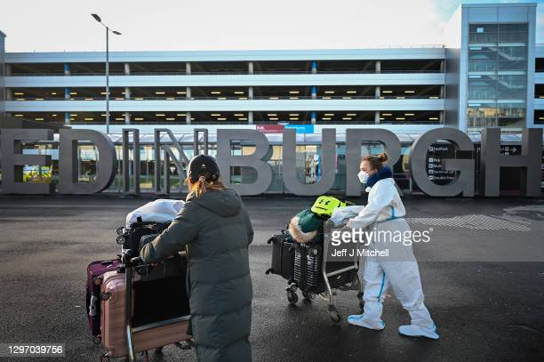 Members of the public are seen at Edinburgh airport as travel corridors close until February 15, on January 18, 2021 in Edinburgh, Scotland. The UK...
