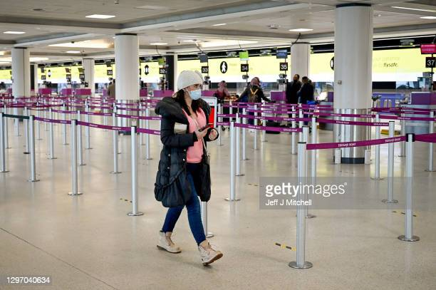 Members of the public are seen at Edinburgh airport as travel corridors close until February 15 on January 18, 2021 in Edinburgh,Scotland.The UK has...