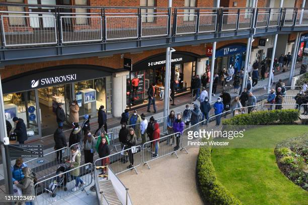 Members of the public are seen at Gunwharf Quays on April 12, 2021 in Portsmouth, England. England has taken a significant step in easing its...