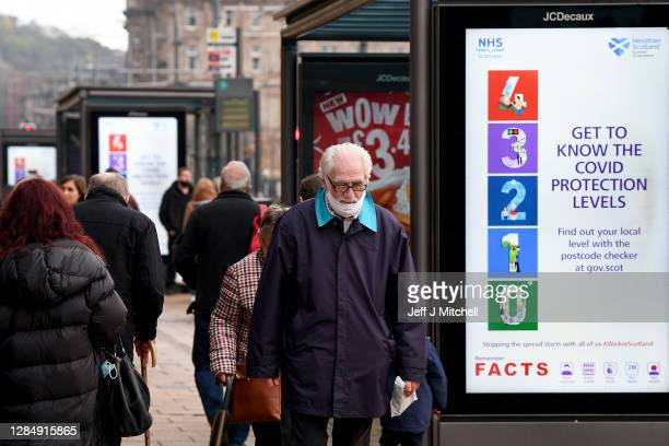 Members of the public are seen in Edinburgh ahead of First Minister Nicola Sturgeon review of the local restriction levels on November 10, 2020 in...