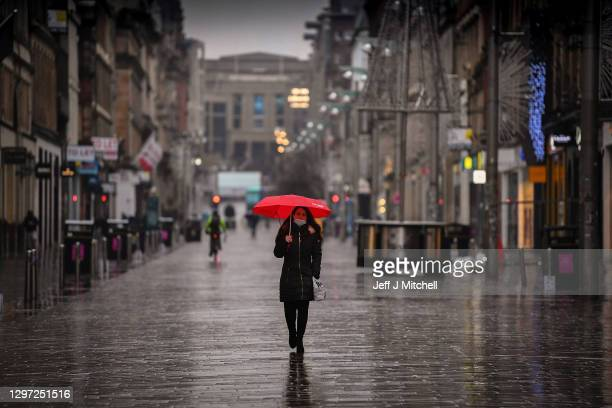 Members of the public are seen in the city center on January 19, 2021 in Glasgow, Scotland. The First Minister has announced that Scotland's...