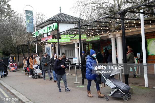 Members of the public arrive as ZSL London Zoo reopens as festive wonderland at ZSL London Zoo following UK lockdown on December 02, 2020 in London,...