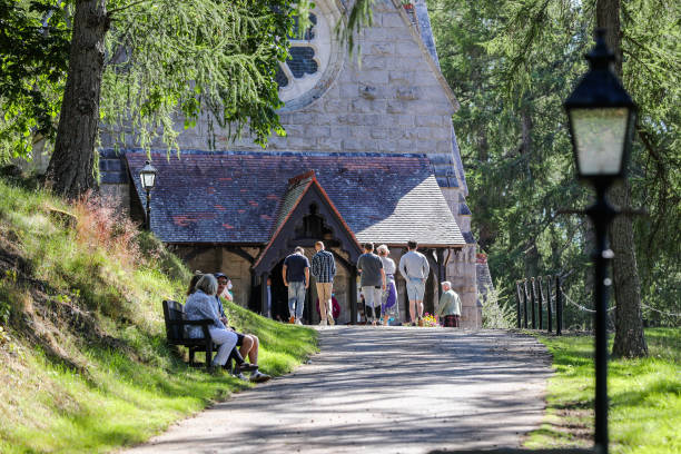 GBR: The Queen Attends Church During Her Summer Stay At Balmoral