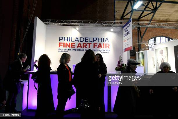 Members of the public arrive for a preview of the inaugural Philadelphia Fine Art Fair in Philadelphia PA on April 4 2019