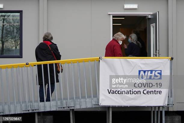 Members of the public arrive to receive the AstraZeneca/Oxford University Covid-19 vaccine at the Askham Bar Mass Vaccination Centre in York on...
