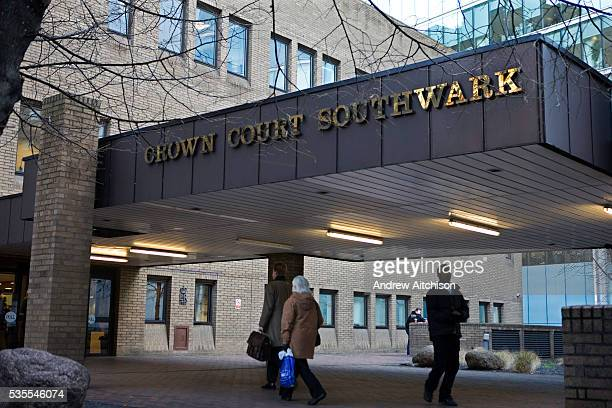 Members of the public arriving at Southwark Crown Court Opened in 1983 the building contains 15 courtrooms making it the fourth largest court centre...