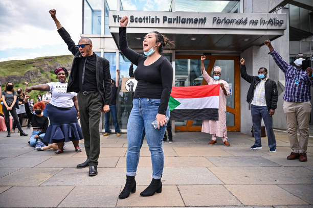 GBR: Black Lives Matter Protest Outside Scottish Parliament