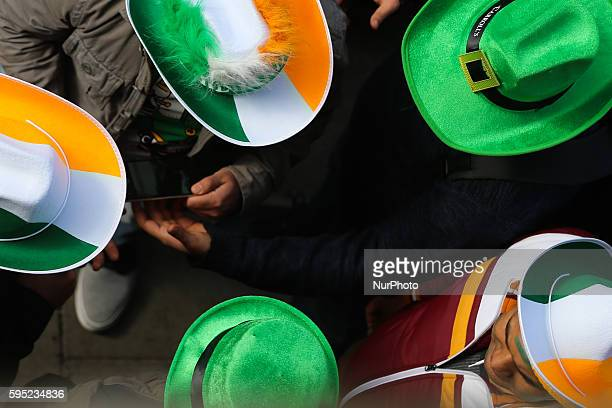Members of the public at St Patrick's Day 2016 parade Dublin Ireland on Thursday 17 March 2016