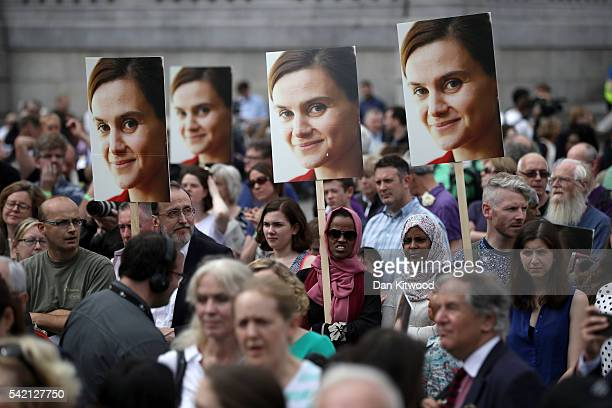 Members of the public attend a memorial event for murdered Labour MP Jo Cox at Trafalger Square on June 22, 2016 in London, United Kingdom. On what...