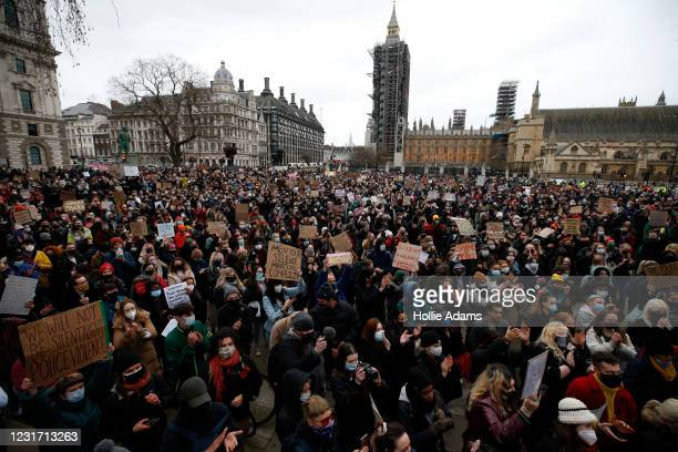 Members of the public attend a protest against the The Police, Crime, Sentencing and Courts Bill and criticising the actions of the police at last...