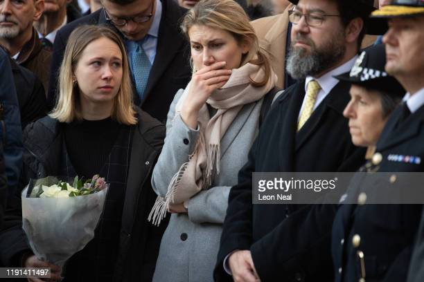 Members of the public attend a vigil for victims Jack Merritt and Saskia Jones 23 of the London Bridge attack and to honour the public and emergency...