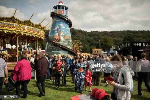Members of the public attend the first day of the Chatsworth Country Fair in the grounds of Chatsworth House, near Bakewell in northern England on...
