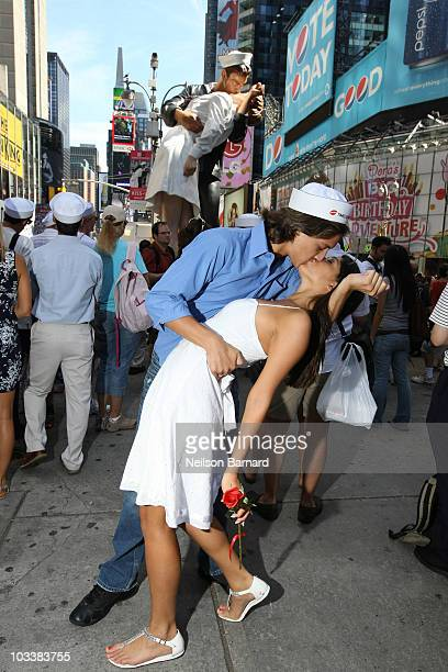 Members of the public attend the KissIn event commemorating the 1945 victory kiss photo by Alfred Eisenstadt in Times Square on August 14 2010 in New...