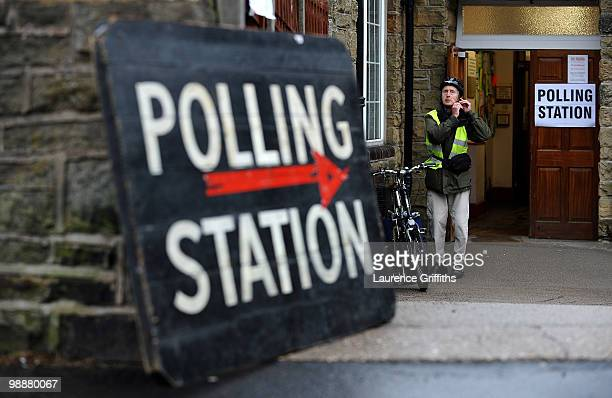 Members of the public cast their vote shortly before Liberal Democrat Leader Nick Clegg at Bents Green Methodist Church on May 6 2010 in Sheffield...