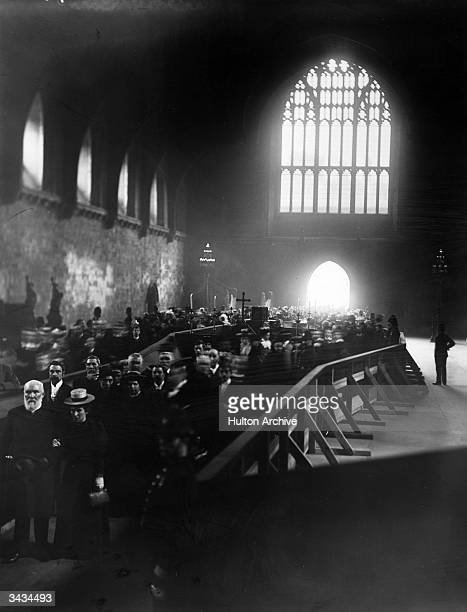 Members of the public come to pay their last respects at the lying-in-state of Statesman and Prime Minister, William Ewart Gladstone in Westminster...