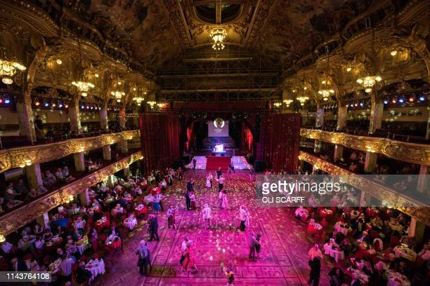 TOPSHOT Members of the public dance in the Tower Ballroom of The Blackpool Tower an iconic British landmark and tourist attraction on the 125th...