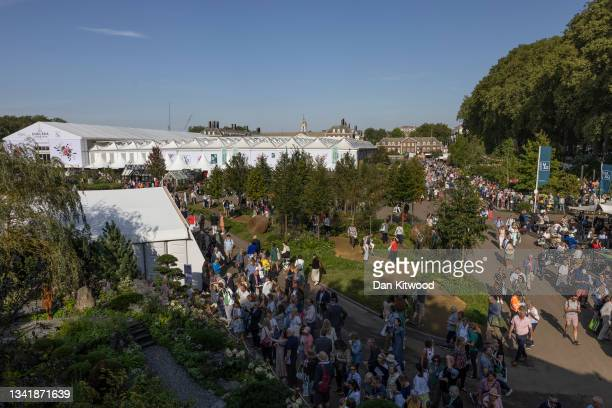 Members of the public enjoy the Chelsea Flower Show on September 22, 2021 in London, England. This year's RHS Chelsea Flower Show was delayed from...