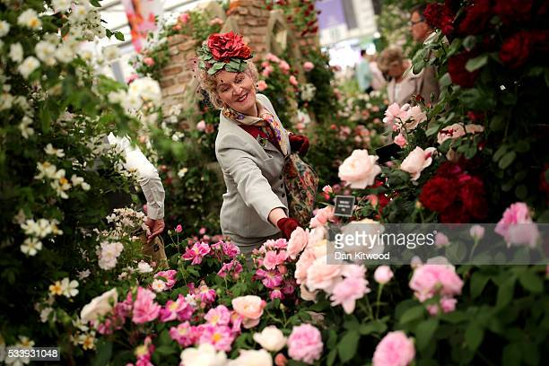 Members of the public enjoy the gardens at the 2016 Chelsea Flower Show at Royal Hospital Chelsea on May 24 2016 in London England The show which has...