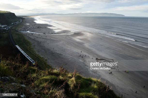 Members of the public gather around a portrait drawn in the sand of British Army Staff Nurse Rachael Ferguson on Downhill beach for filmmaker Danny...