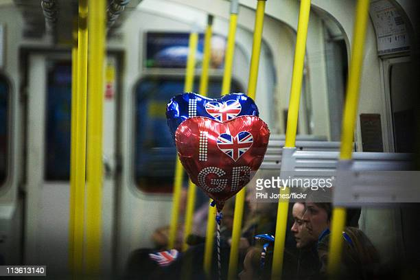 Members of the public get the tube home following the Royal Wedding of Prince William to Catherine Middleton at Westminster Abbey on April 29 2011 in...