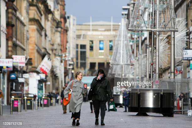 Members of the public in Glasgow city centre on the first day of stricter local lockdown measures on November 21, 2020 in Glasgow, Scotland. 11...