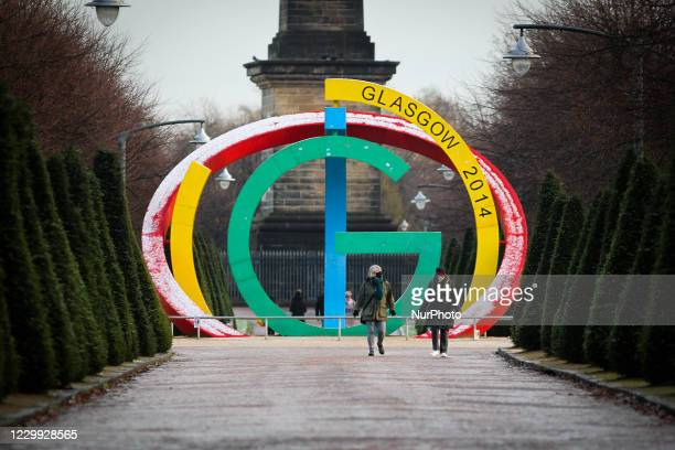 Members of the public in Glasgow Green on December 03, 2020 in Glasgow, Scotland. 11 council areas across the Central Belt including Glasgow continue...