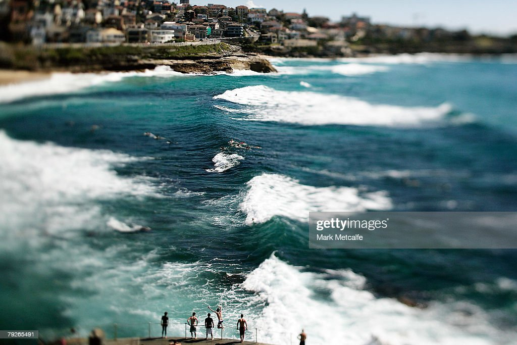 Members of the public jump into the sea at Bronte beach beach on Australia Day January 26, 2008 in Sydney, Australia.