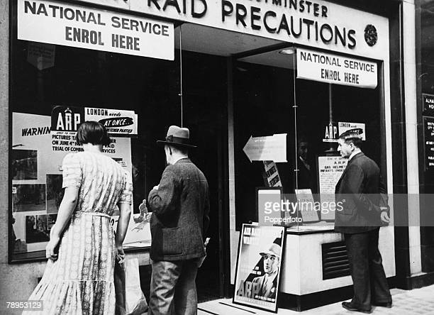circa 1940 Great Britain A London recruiting office encouraging people to join for National Service especially in the service as Air Raid Warden