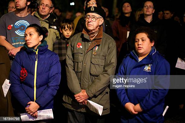 Members of the public look on during dawn service at the Wellington cenotaph on April 25 2013 in Wellington New Zealand Veterans dignitaries and...