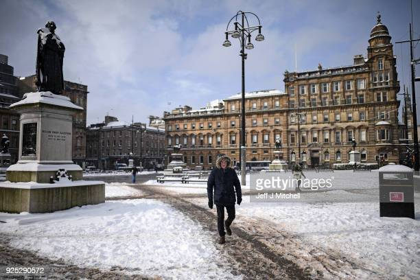 Members of the public make their way through the snow on February 28 in Glasgow Scotland Freezing weather conditions dubbed the Beast from the East...